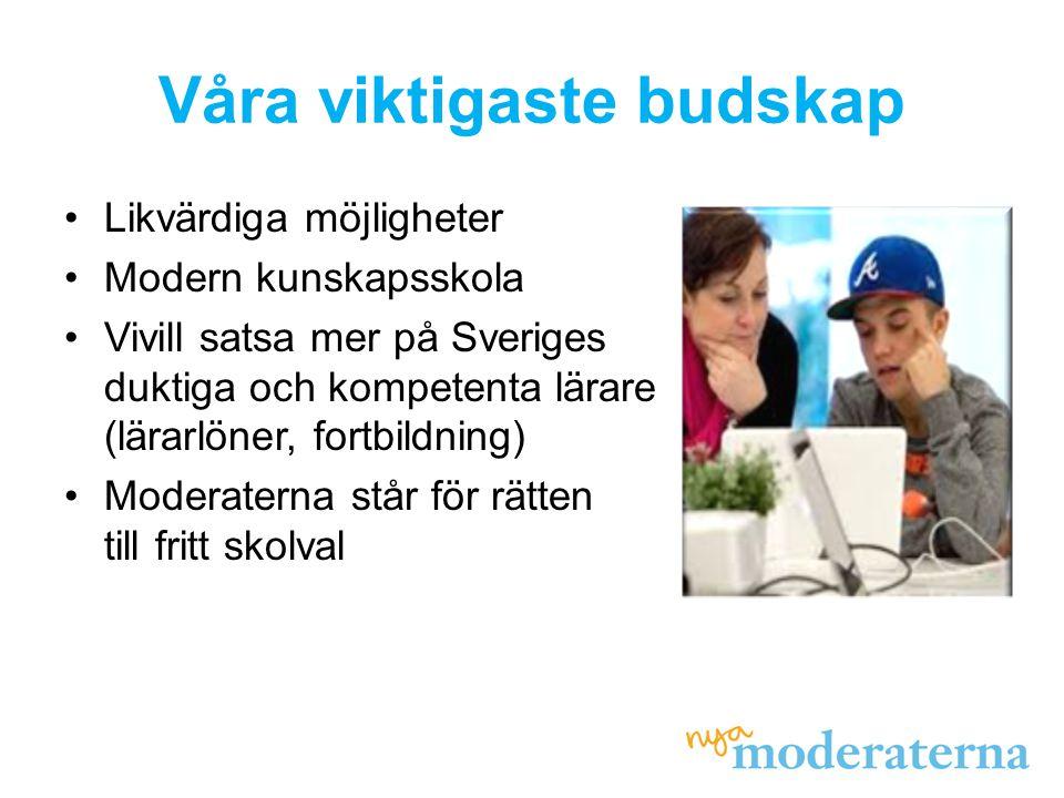 Våra viktigaste budskap •Likvärdiga möjligheter •Modern kunskapsskola •Vivill satsa mer på Sveriges duktiga och kompetenta lärare (lärarlöner, fortbildning) •Moderaterna står för rätten till fritt skolval