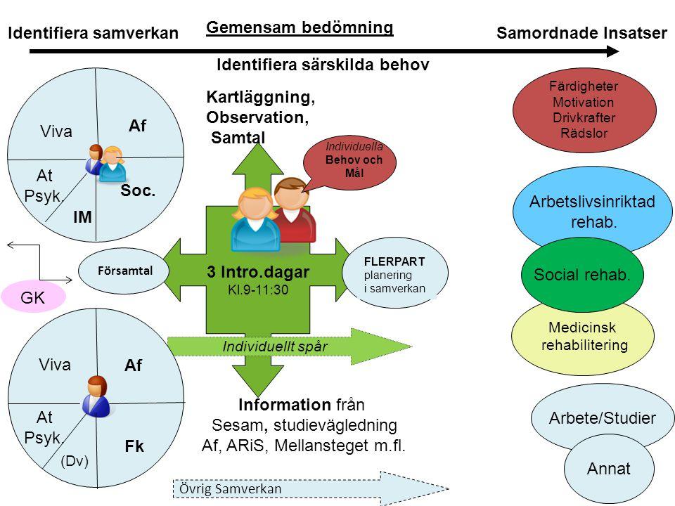 3 Intro.dagar Kl.9-11:30 Kartläggning, Observation, Samtal Individuella Behov och Mål Individuellt spår Arbetslivsinriktad rehab. Identifiera samverka