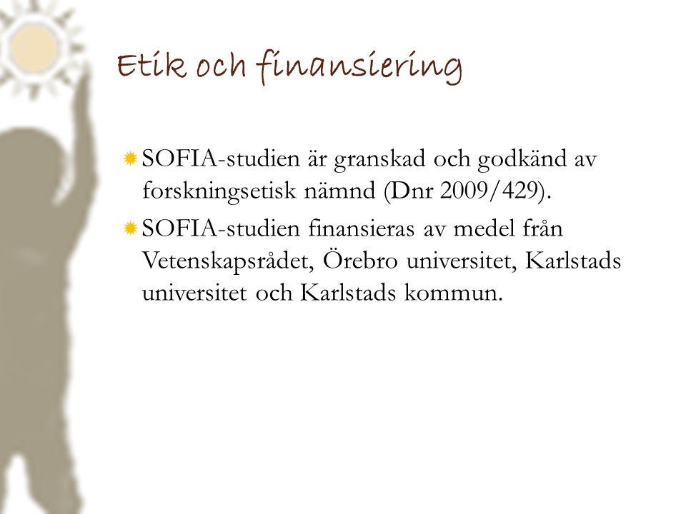 Etik och finansiering  SOFIA-studien är granskad och godkänd av forskningsetisk nämnd (Dnr 2009/429).  SOFIA-studien finansieras av medel från Veten