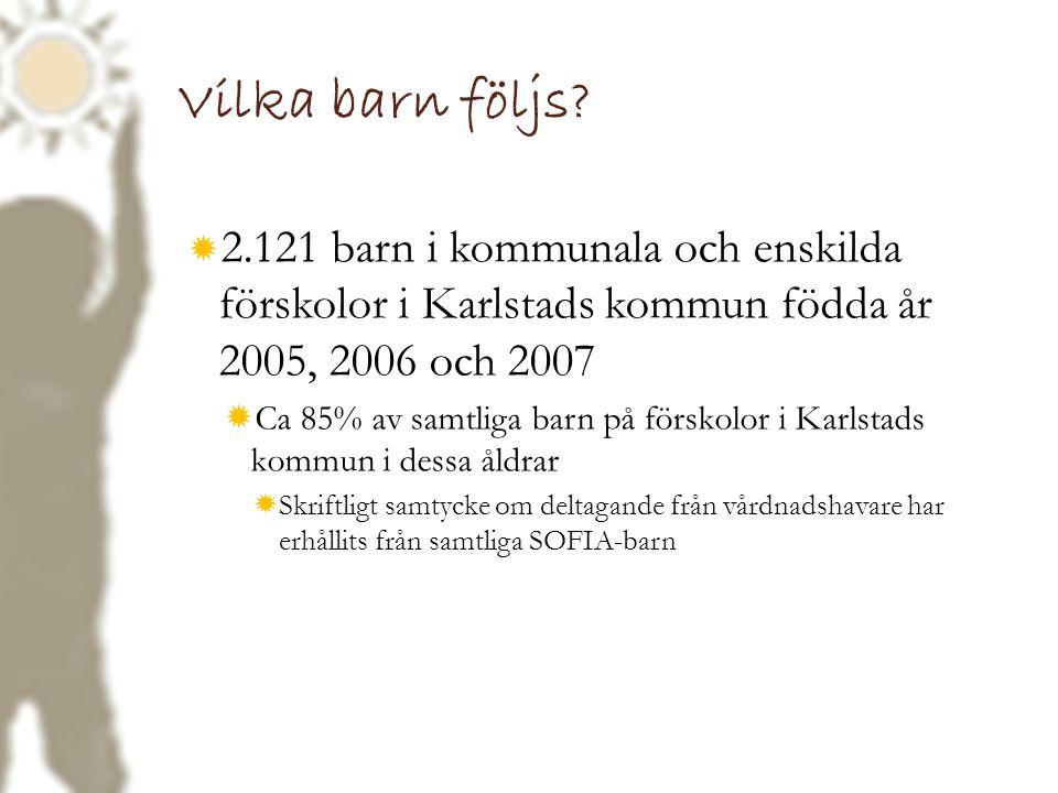 Vilka barn följs?  2.121 barn i kommunala och enskilda förskolor i Karlstads kommun födda år 2005, 2006 och 2007  Ca 85% av samtliga barn på förskol