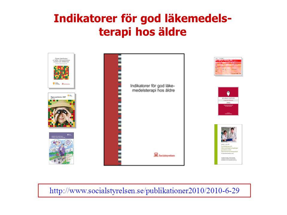 http://www.socialstyrelsen.se/publikationer2010/2010-6-29 Indikatorer för god läkemedels- terapi hos äldre