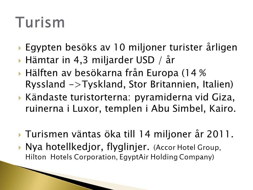  Egypten besöks av 10 miljoner turister årligen  Hämtar in 4,3 miljarder USD / år  Hälften av besökarna från Europa (14 % Ryssland ->Tyskland, Stor Britannien, Italien)  Kändaste turistorterna: pyramiderna vid Giza, ruinerna i Luxor, templen i Abu Simbel, Kairo.