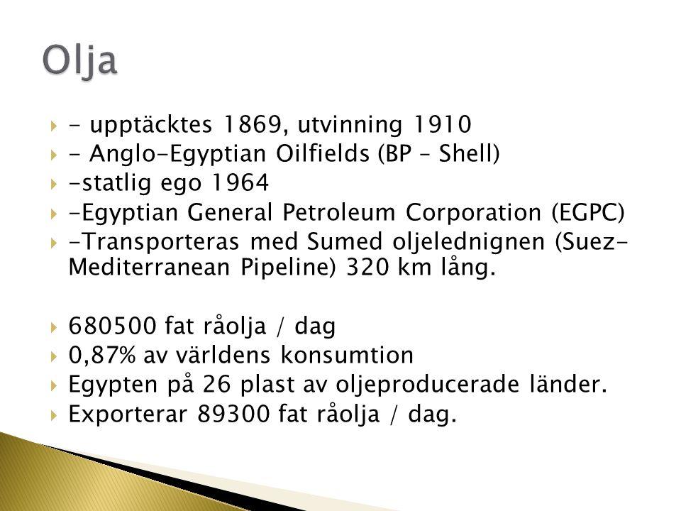 - upptäcktes 1869, utvinning 1910  - Anglo-Egyptian Oilfields (BP – Shell)  -statlig ego 1964  -Egyptian General Petroleum Corporation (EGPC)  -