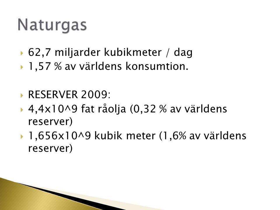  62,7 miljarder kubikmeter / dag  1,57 % av världens konsumtion.  RESERVER 2009:  4,4x10^9 fat råolja (0,32 % av världens reserver)  1,656x10^9 k