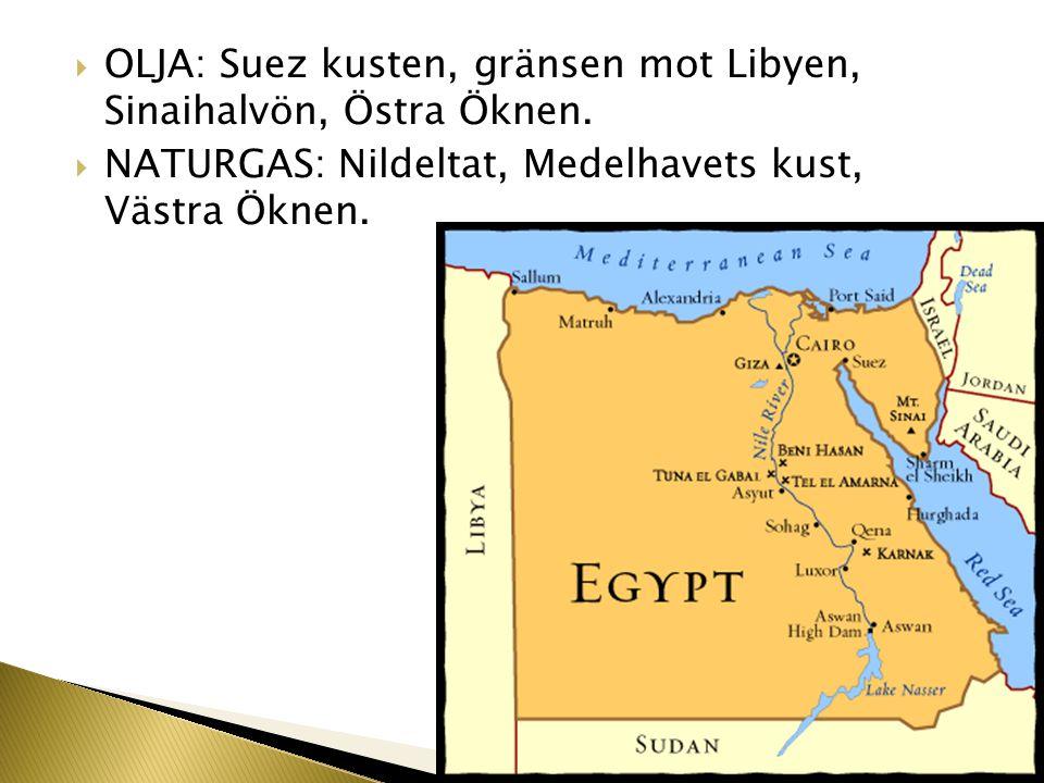  OLJA: Suez kusten, gränsen mot Libyen, Sinaihalvön, Östra Öknen.  NATURGAS: Nildeltat, Medelhavets kust, Västra Öknen.