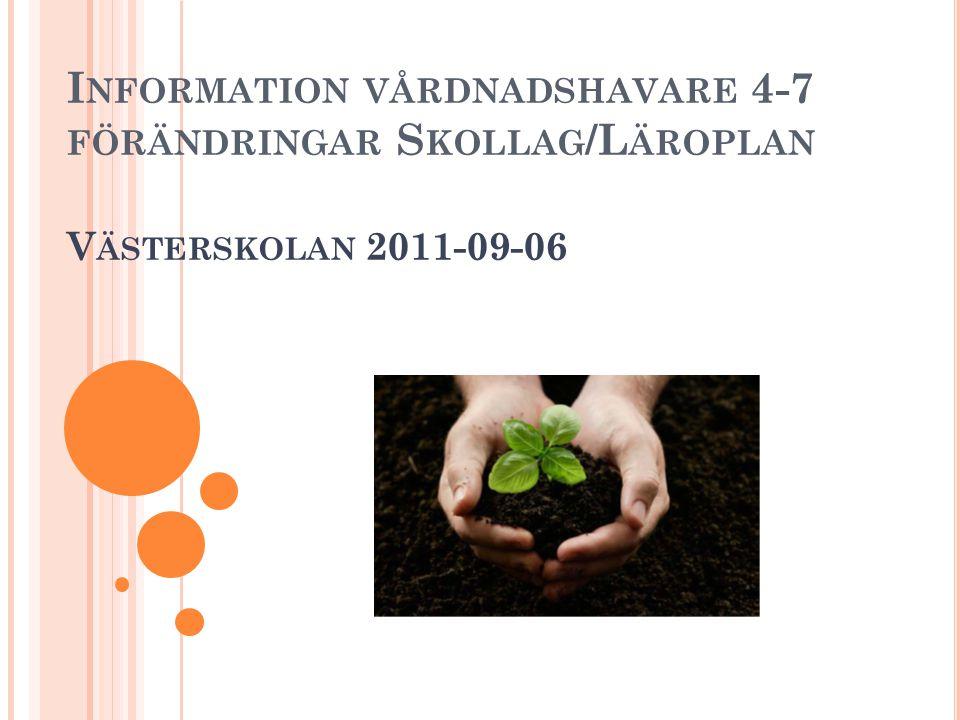 I NFORMATION VÅRDNADSHAVARE 4-7 FÖRÄNDRINGAR S KOLLAG /L ÄROPLAN V ÄSTERSKOLAN 2011-09-06