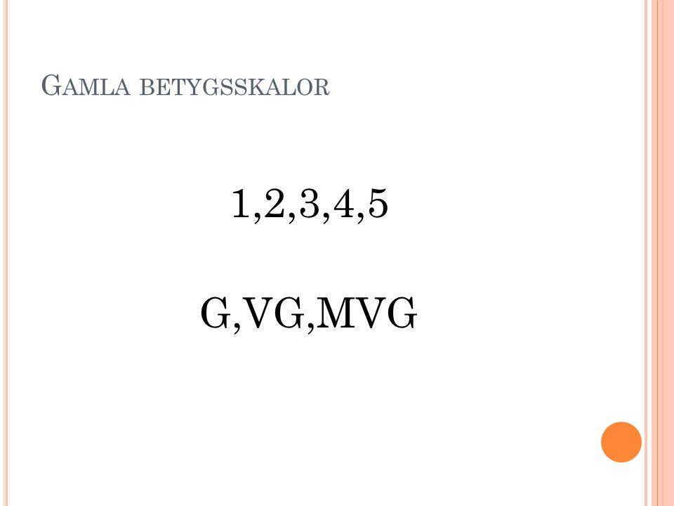 G AMLA BETYGSSKALOR 1,2,3,4,5 G,VG,MVG