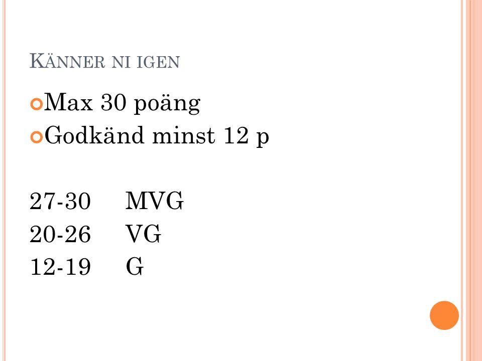 K ÄNNER NI IGEN Max 30 poäng Godkänd minst 12 p 27-30 MVG 20-26VG 12-19G