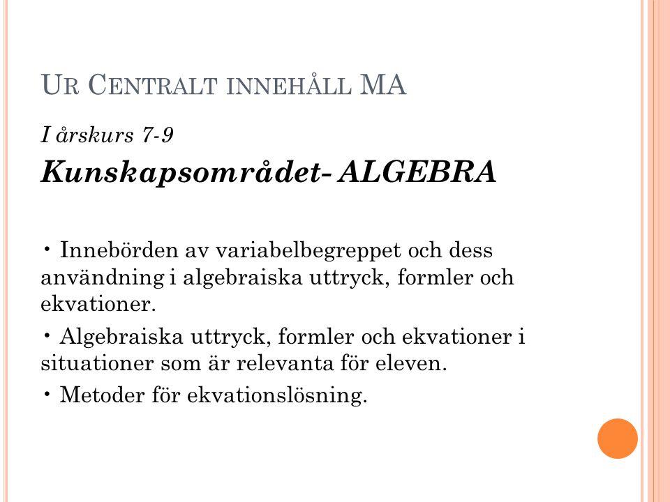 U R C ENTRALT INNEHÅLL MA I årskurs 7-9 Kunskapsområdet- ALGEBRA • Innebörden av variabelbegreppet och dess användning i algebraiska uttryck, formler