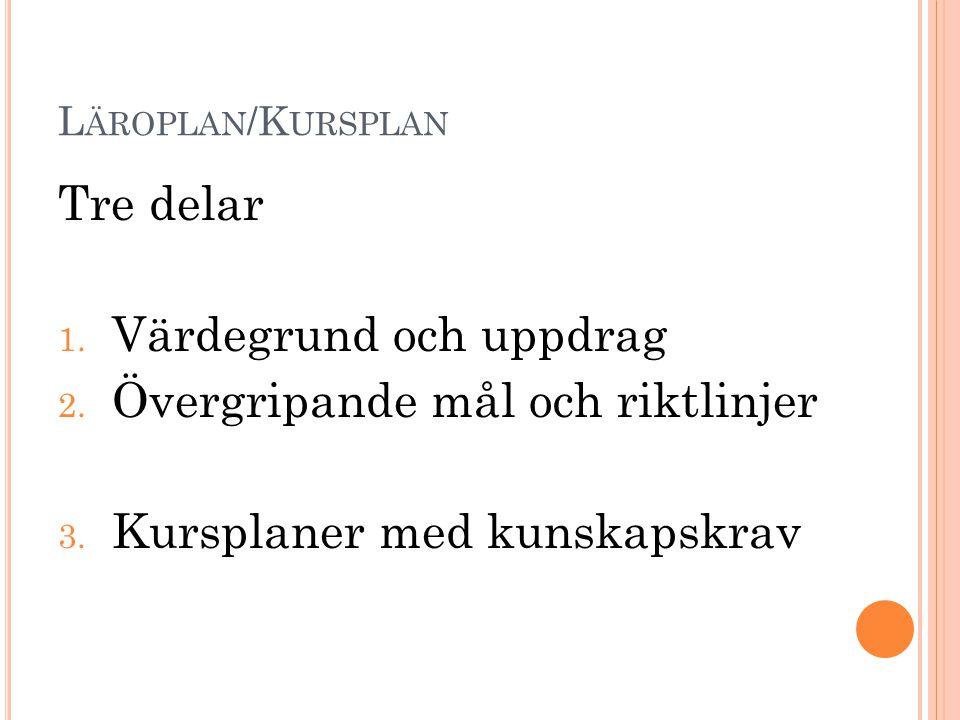 L ÄROPLAN /K URSPLAN Tre delar 1. Värdegrund och uppdrag 2. Övergripande mål och riktlinjer 3. Kursplaner med kunskapskrav