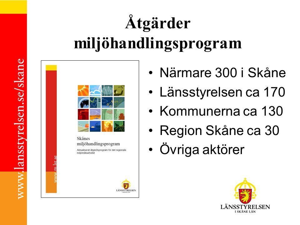 Åtgärder miljöhandlingsprogram •Närmare 300 i Skåne •Länsstyrelsen ca 170 •Kommunerna ca 130 •Region Skåne ca 30 •Övriga aktörer