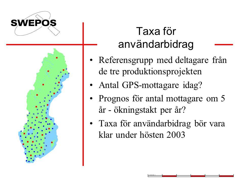 Taxa för användarbidrag •Referensgrupp med deltagare från de tre produktionsprojekten •Antal GPS-mottagare idag.