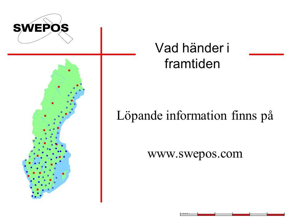 Vad händer i framtiden Löpande information finns på www.swepos.com