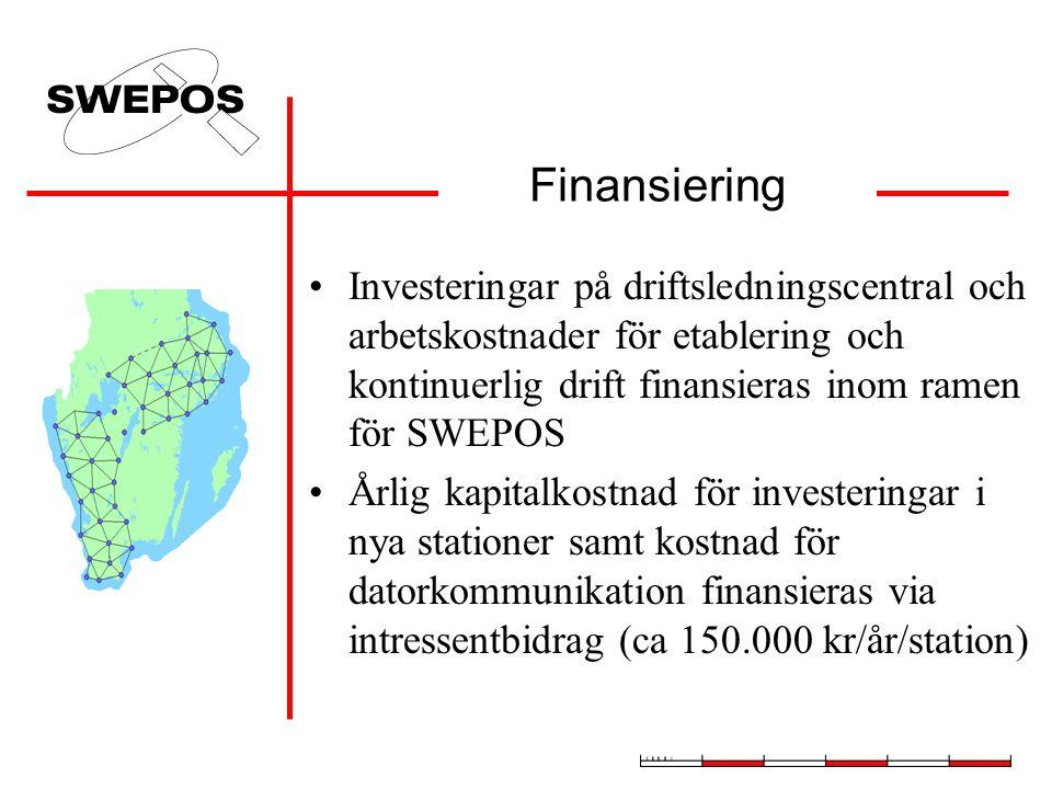 Finansiering •Investeringar på driftsledningscentral och arbetskostnader för etablering och kontinuerlig drift finansieras inom ramen för SWEPOS •Årlig kapitalkostnad för investeringar i nya stationer samt kostnad för datorkommunikation finansieras via intressentbidrag (ca 150.000 kr/år/station)