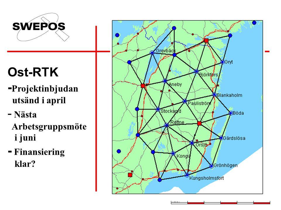 Ost-RTK - Projektinbjudan utsänd i april - Nästa Arbetsgruppsmöte i juni - Finansiering klar