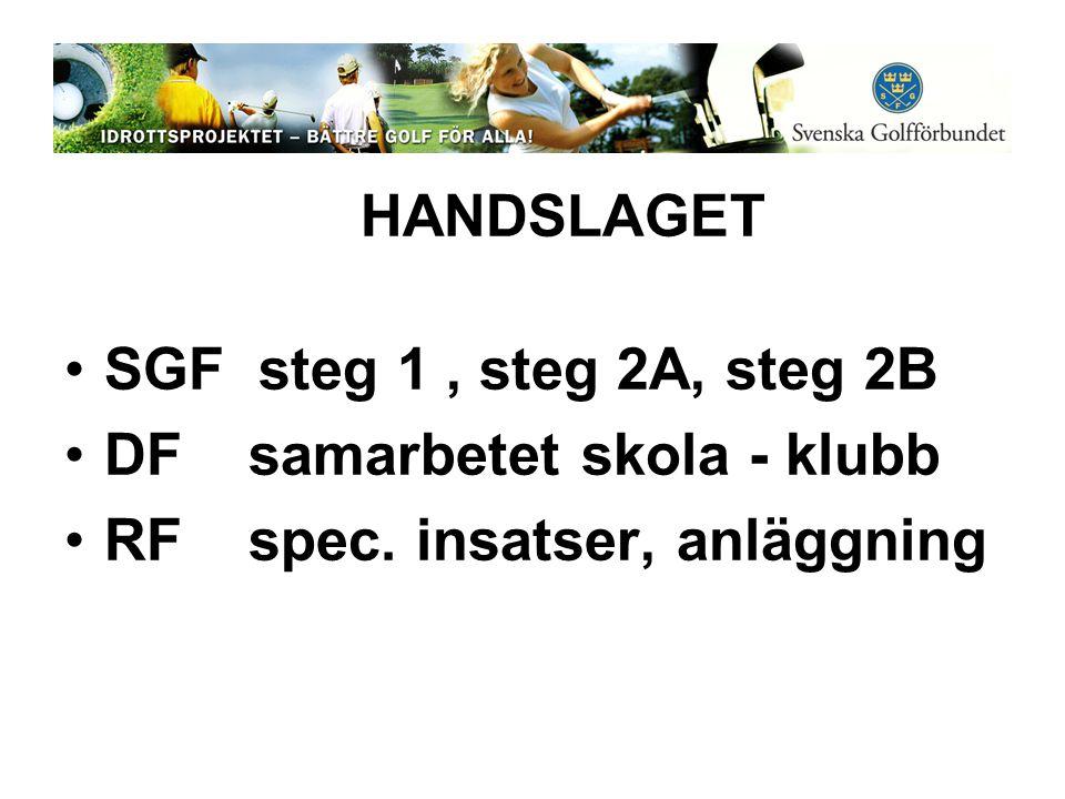 HANDSLAGET •SGF steg 1, steg 2A, steg 2B •DF samarbetet skola - klubb •RF spec. insatser, anläggning