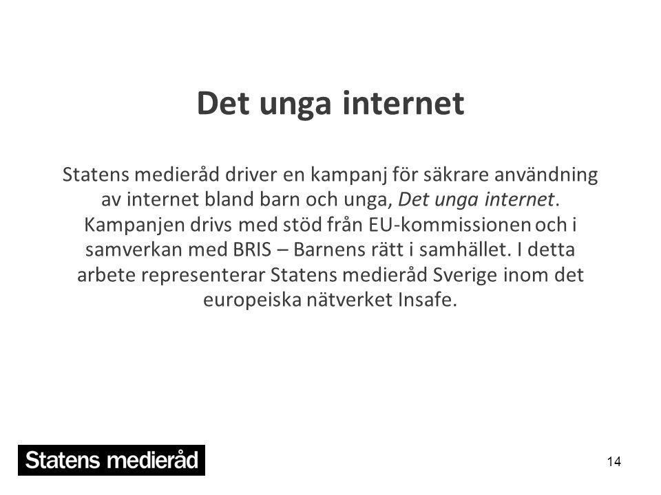 Det unga internet Statens medieråd driver en kampanj för säkrare användning av internet bland barn och unga, Det unga internet. Kampanjen drivs med st