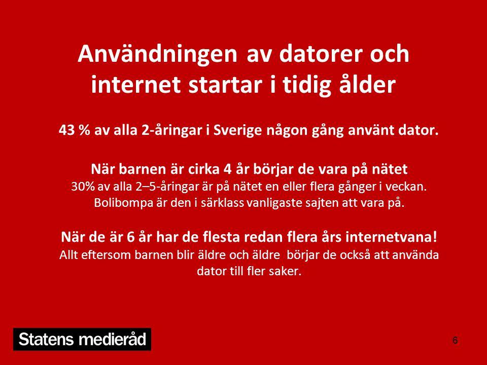 Användningen av datorer och internet startar i tidig ålder 43 % av alla 2-åringar i Sverige någon gång använt dator. När barnen är cirka 4 år börjar d