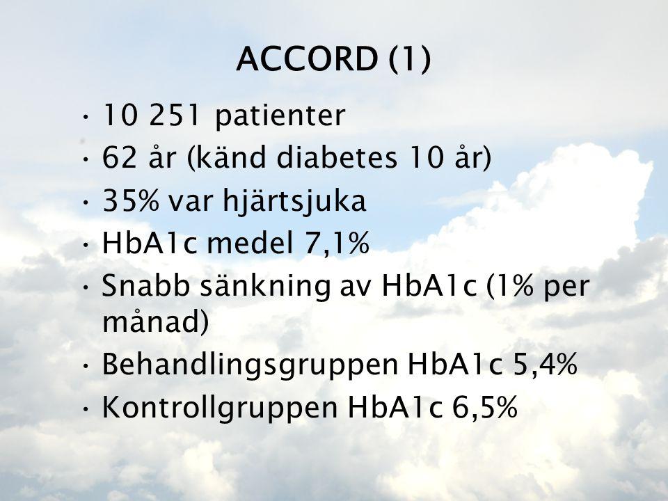 ACCORD (1) •10 251 patienter •62 år (känd diabetes 10 år) •35% var hjärtsjuka •HbA1c medel 7,1% •Snabb sänkning av HbA1c (1% per månad) •Behandlingsgruppen HbA1c 5,4% •Kontrollgruppen HbA1c 6,5%
