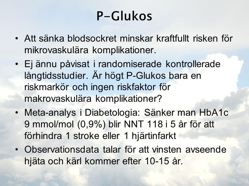 P-Glukos •Att sänka blodsockret minskar kraftfullt risken för mikrovaskulära komplikationer. •Ej ännu påvisat i randomiserade kontrollerade långtidsst