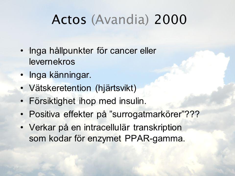 Actos (Avandia) 2000 •Inga hållpunkter för cancer eller levernekros •Inga känningar. •Vätskeretention (hjärtsvikt) •Försiktighet ihop med insulin. •Po
