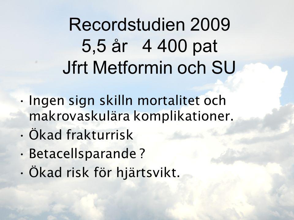 Recordstudien 2009 5,5 år 4 400 pat Jfrt Metformin och SU •Ingen sign skilln mortalitet och makrovaskulära komplikationer. •Ökad frakturrisk •Betacell