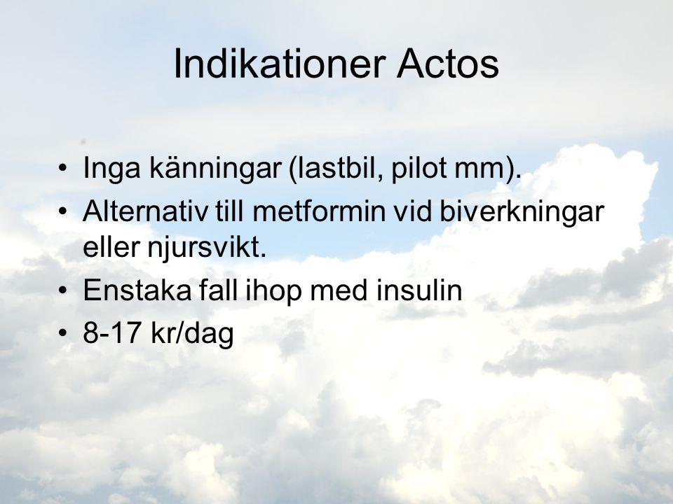 Indikationer Actos •Inga känningar (lastbil, pilot mm). •Alternativ till metformin vid biverkningar eller njursvikt. •Enstaka fall ihop med insulin •8
