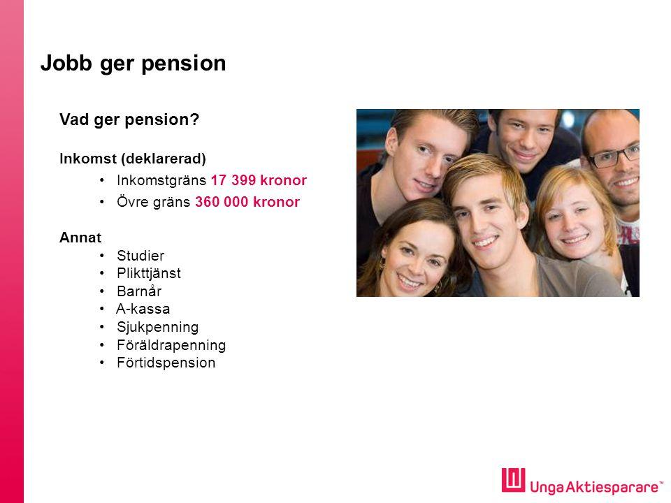 Vad ger pension? Inkomst (deklarerad) • Inkomstgräns 17 399 kronor • Övre gräns 360 000 kronor Annat • Studier • Plikttjänst • Barnår • A-kassa • Sjuk