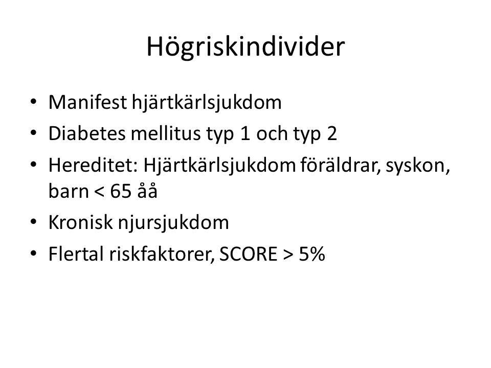 Högriskindivider • Manifest hjärtkärlsjukdom • Diabetes mellitus typ 1 och typ 2 • Hereditet: Hjärtkärlsjukdom föräldrar, syskon, barn < 65 åå • Kroni