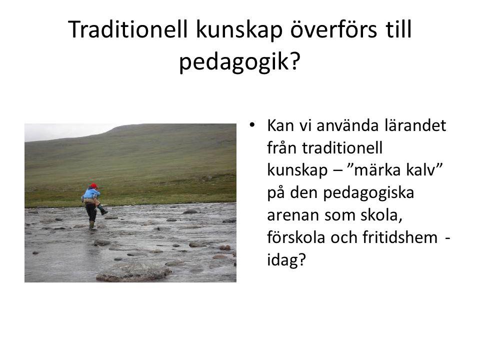 """Traditionell kunskap överförs till pedagogik? • Kan vi använda lärandet från traditionell kunskap – """"märka kalv"""" på den pedagogiska arenan som skola,"""