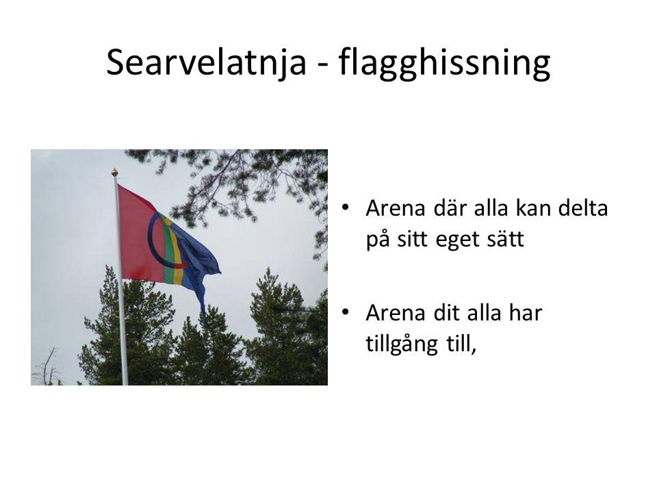 Searvelatnja - flagghissning • Arena där alla kan delta på sitt eget sätt • Arena dit alla har tillgång till,