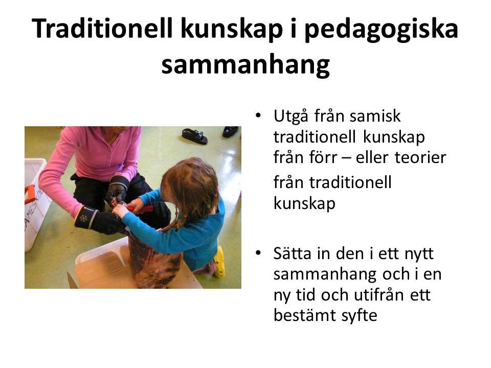 Traditionell kunskap i pedagogiska sammanhang • Utgå från samisk traditionell kunskap från förr – eller teorier från traditionell kunskap • Sätta in d