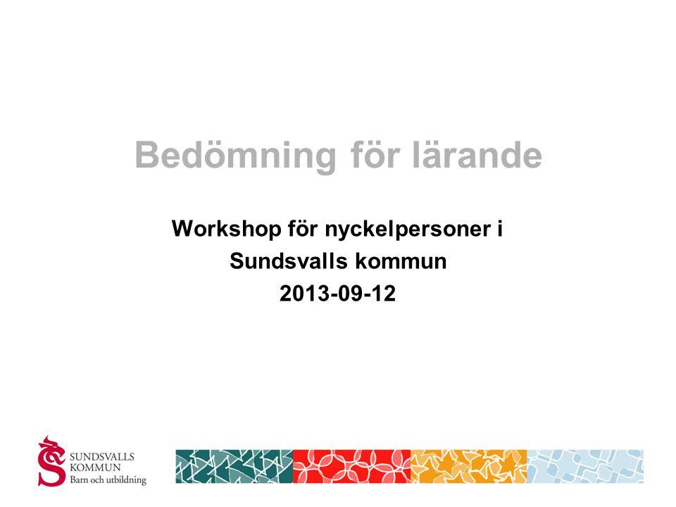 Bedömning för lärande Workshop för nyckelpersoner i Sundsvalls kommun 2013-09-12