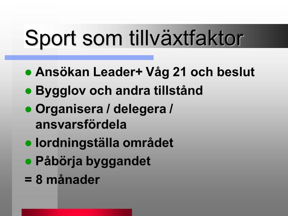 Sport som tillväxtfaktor  Ansökan Leader+ Våg 21 och beslut  Bygglov och andra tillstånd  Organisera / delegera / ansvarsfördela  Iordningställa o