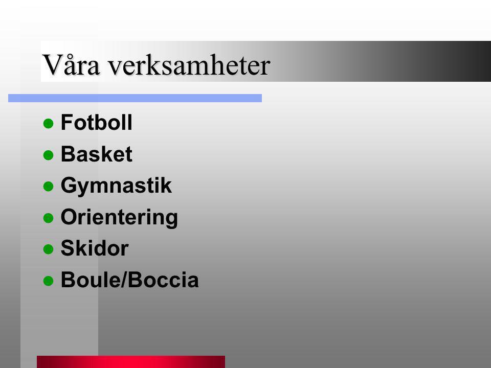 Våra verksamheter  Fotboll  Basket  Gymnastik  Orientering  Skidor  Boule/Boccia