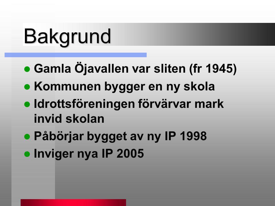 Bakgrund  Gamla Öjavallen var sliten (fr 1945)  Kommunen bygger en ny skola  Idrottsföreningen förvärvar mark invid skolan  Påbörjar bygget av ny