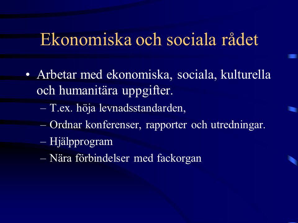 Ekonomiska och sociala rådet •Arbetar med ekonomiska, sociala, kulturella och humanitära uppgifter. –T.ex. höja levnadsstandarden, –Ordnar konferenser