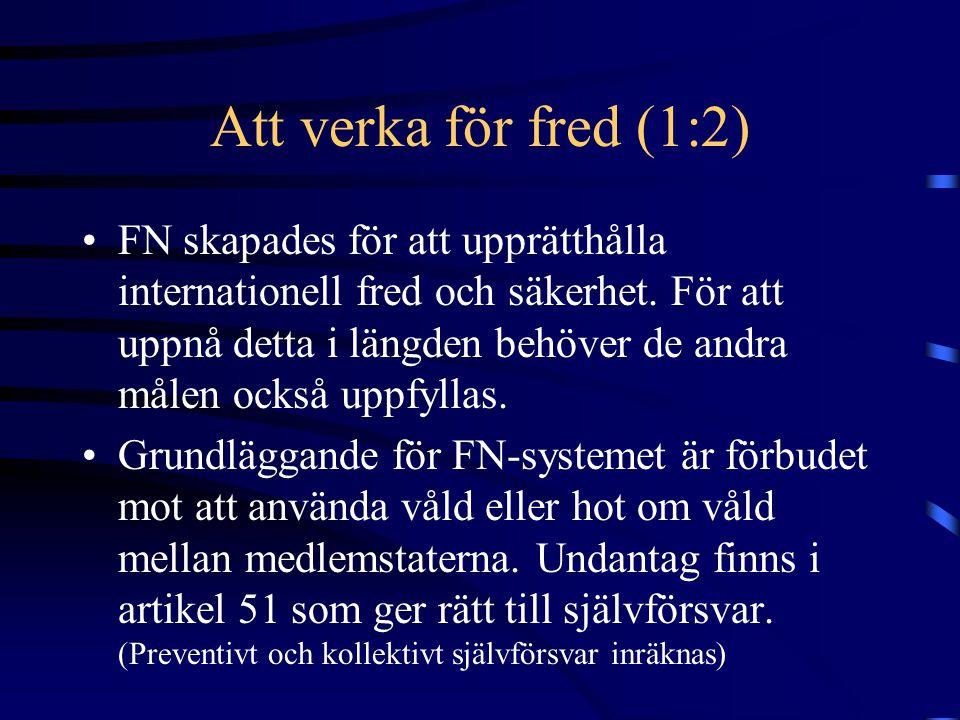 Att verka för fred (2:2) •Noninventionsprincip - ingen rätt att ingripa i staters inre angelägenheter.