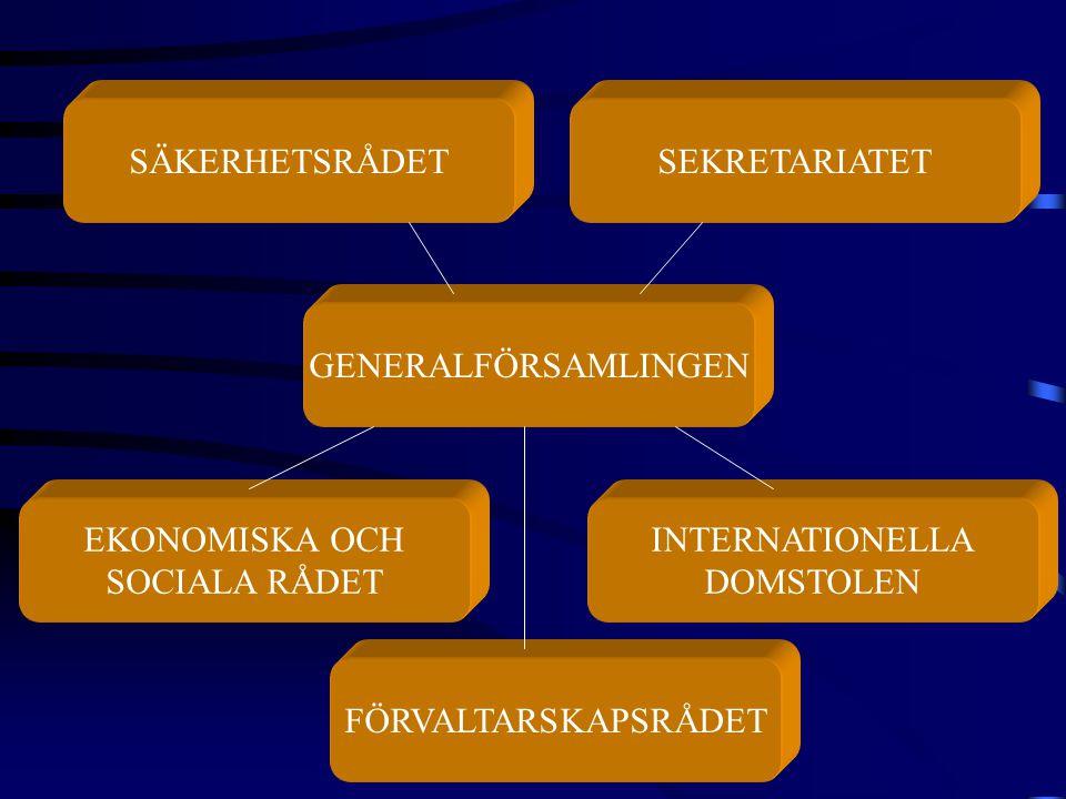 GENERALFÖRSAMLINGEN SÄKERHETSRÅDETSEKRETARIATET EKONOMISKA OCH SOCIALA RÅDET INTERNATIONELLA DOMSTOLEN FÖRVALTARSKAPSRÅDET