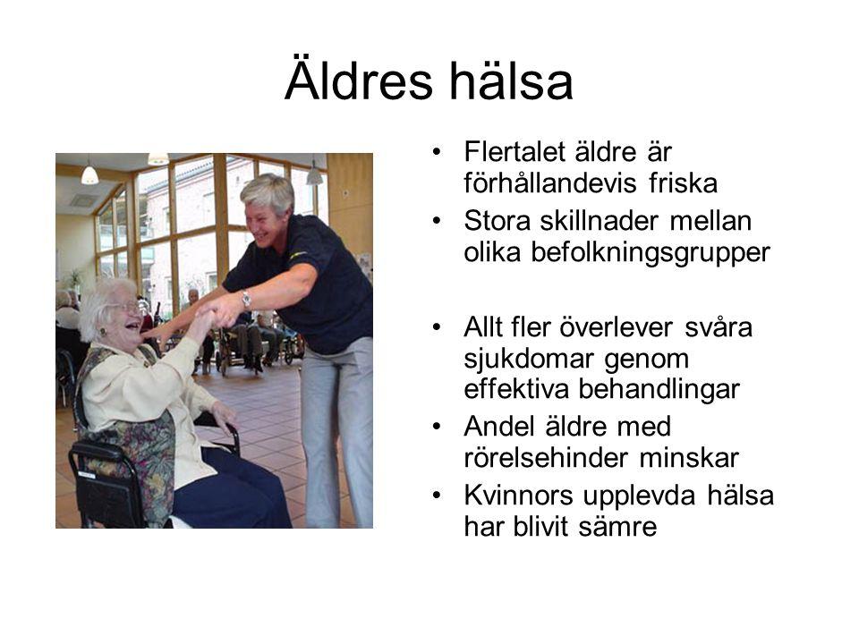 Äldres hälsa •Flertalet äldre är förhållandevis friska •Stora skillnader mellan olika befolkningsgrupper •Allt fler överlever svåra sjukdomar genom ef