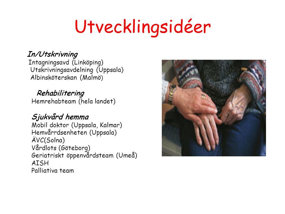 Utvecklingsidéer In/Utskrivning Intagningsavd (Linköping) Utskrivningsavdelning (Uppsala) Albinsköterskan (Malmö ) Rehabilitering Hemrehabteam (hela l