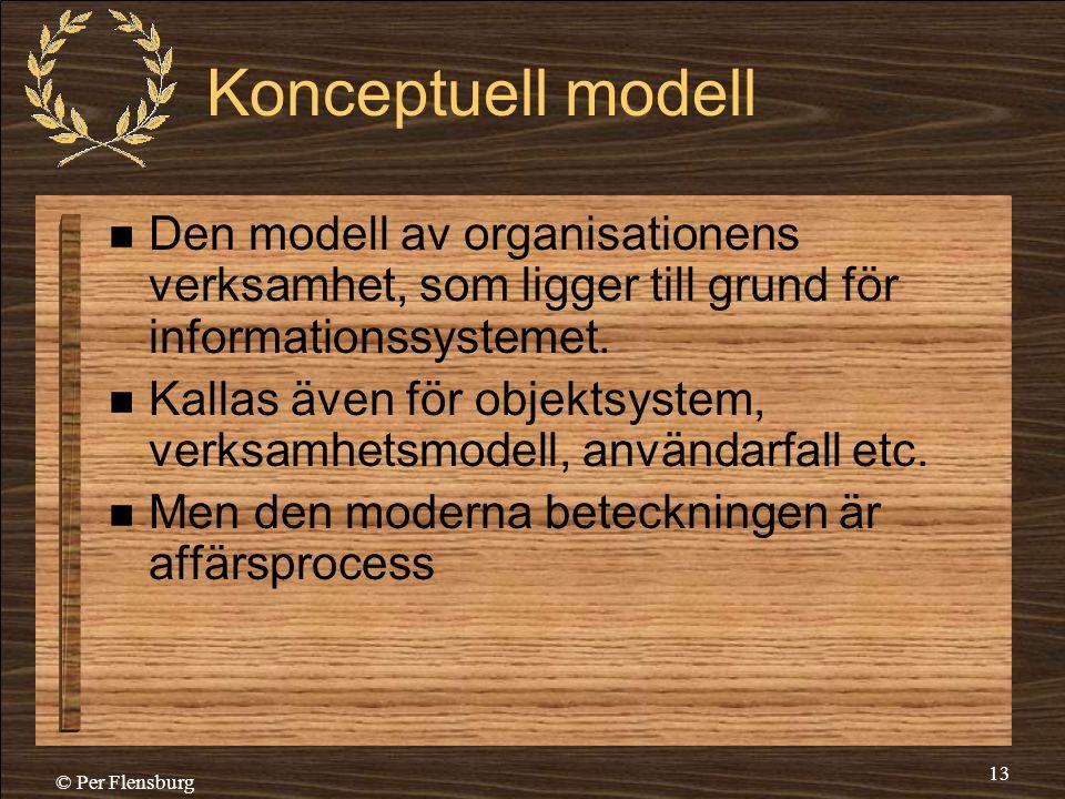 © Per Flensburg 13 Konceptuell modell  Den modell av organisationens verksamhet, som ligger till grund för informationssystemet.  Kallas även för ob