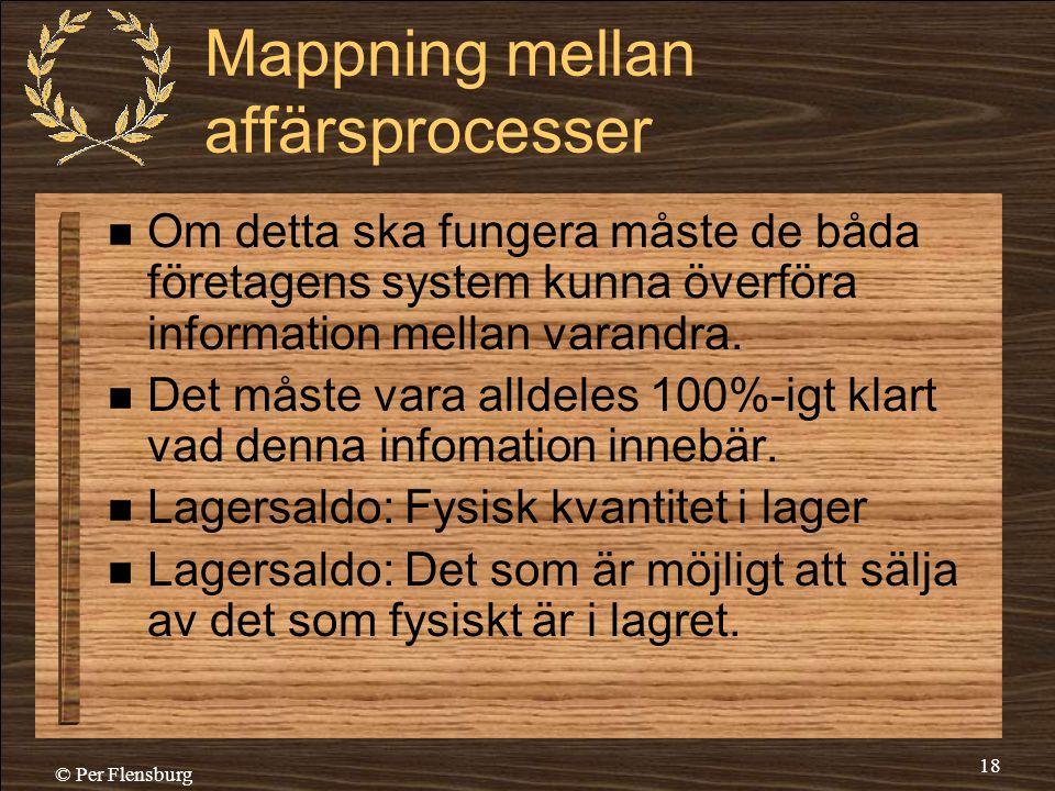 © Per Flensburg 18 Mappning mellan affärsprocesser  Om detta ska fungera måste de båda företagens system kunna överföra information mellan varandra.
