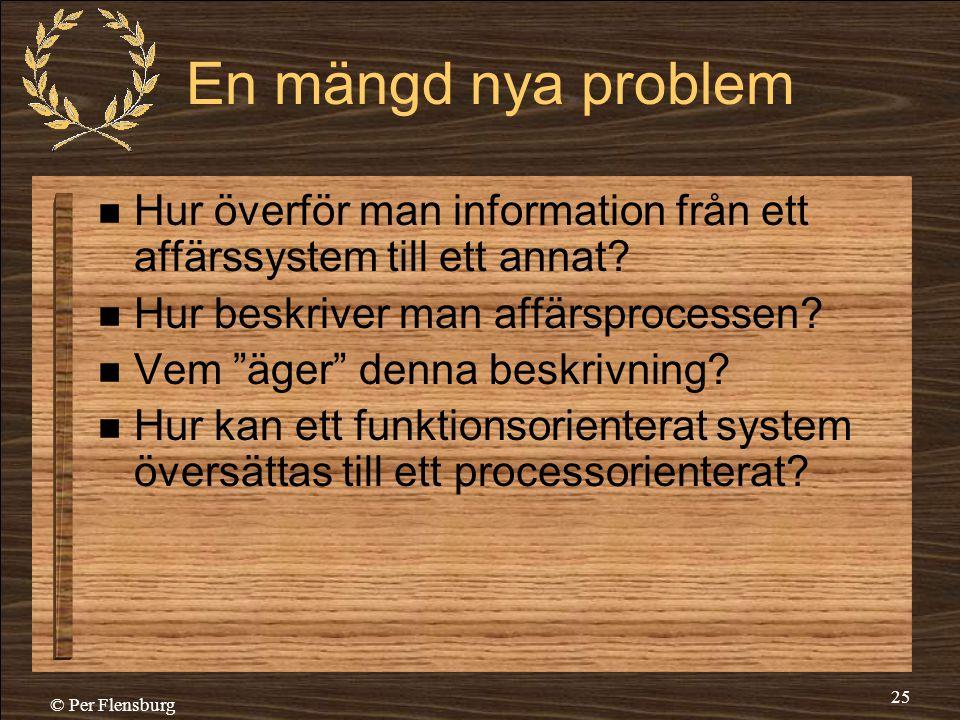 © Per Flensburg 25 En mängd nya problem  Hur överför man information från ett affärssystem till ett annat?  Hur beskriver man affärsprocessen?  Vem