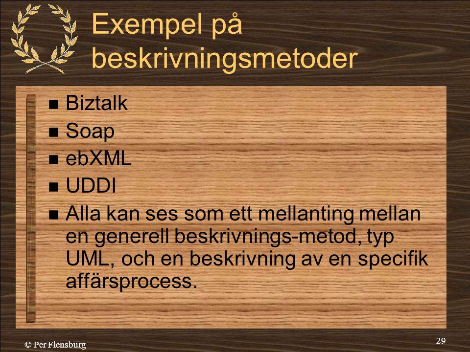 © Per Flensburg 29 Exempel på beskrivningsmetoder  Biztalk  Soap  ebXML  UDDI  Alla kan ses som ett mellanting mellan en generell beskrivnings-me
