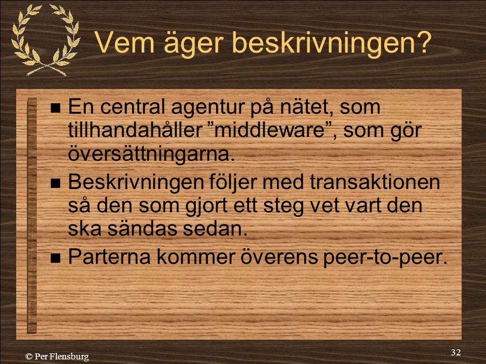 """© Per Flensburg 32 Vem äger beskrivningen?  En central agentur på nätet, som tillhandahåller """"middleware"""", som gör översättningarna.  Beskrivningen"""