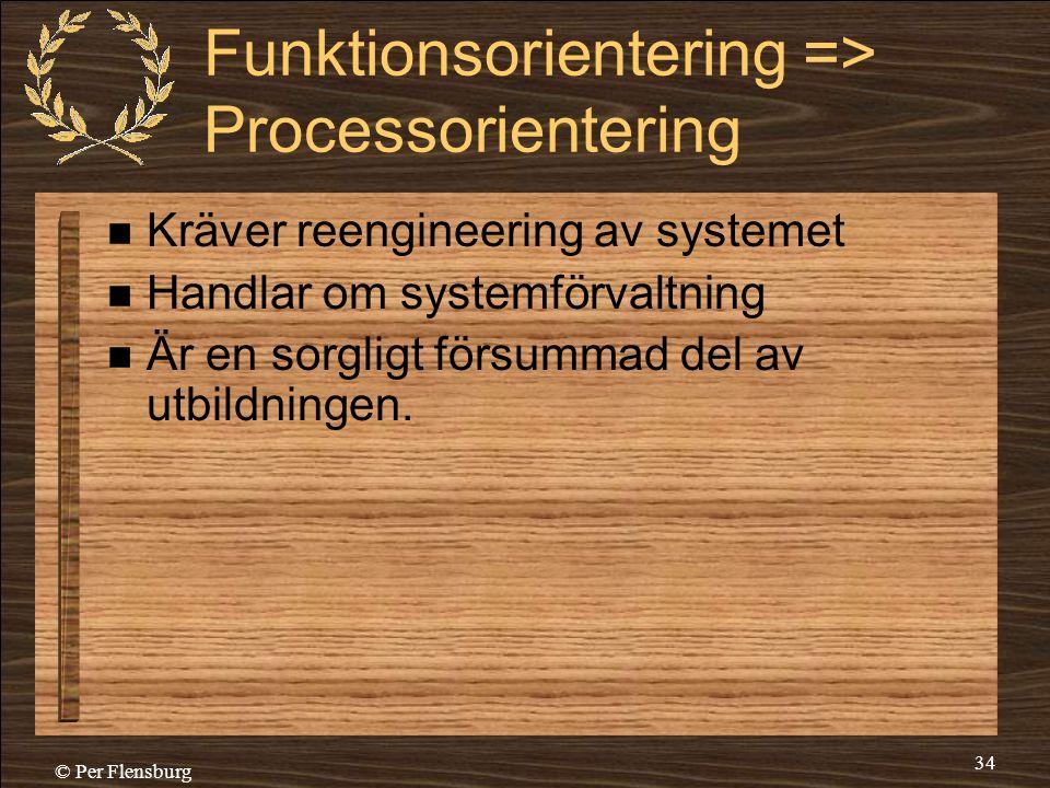 © Per Flensburg 34 Funktionsorientering => Processorientering  Kräver reengineering av systemet  Handlar om systemförvaltning  Är en sorgligt försu