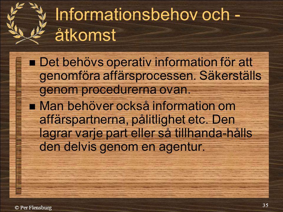 © Per Flensburg 35 Informationsbehov och - åtkomst  Det behövs operativ information för att genomföra affärsprocessen. Säkerställs genom procedurerna