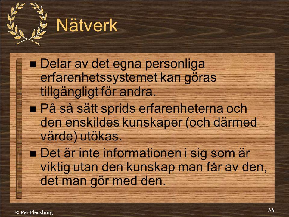 © Per Flensburg 38 Nätverk  Delar av det egna personliga erfarenhetssystemet kan göras tillgängligt för andra.  På så sätt sprids erfarenheterna och