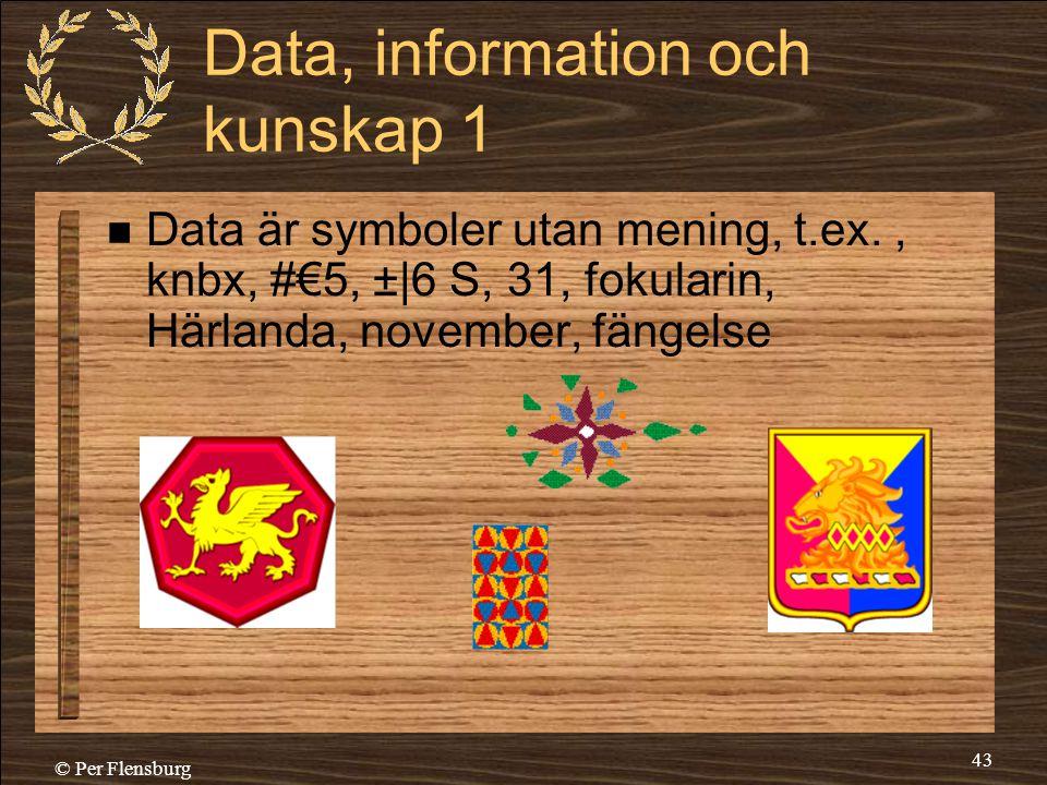 © Per Flensburg 43 Data, information och kunskap 1  Data är symboler utan mening, t.ex., knbx, #€5, ±|6 S, 31, fokularin, Härlanda, november, fängels